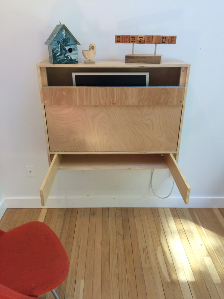Custom wood folding desk with supports