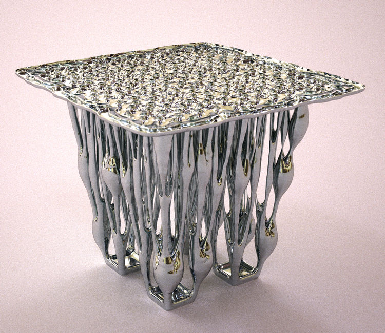 """Francis Bitonti's 3D printed stainless steel """"Reaction Table."""""""