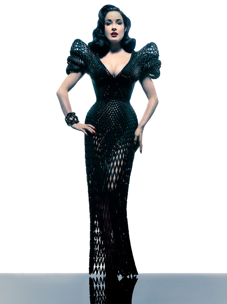 """Francis Bitonti's 3D printed """"Dita's Gown"""" for Dita Von Teese."""