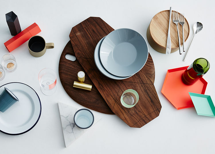 Table scape of kitchenware and dinnerware