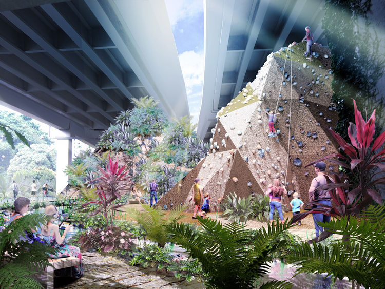 Singapore urban park and rock climbing wall