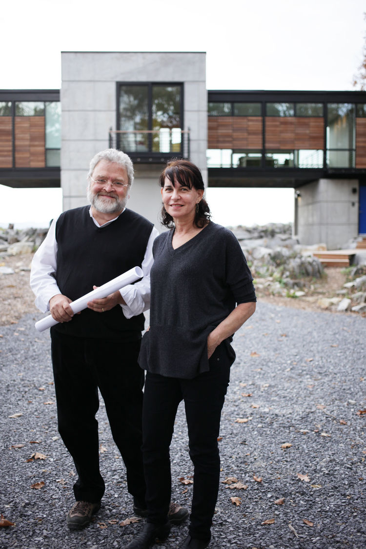 Gregory Wiedemann and Barbara Sweeney of Wiedemann Architects LLC in front of their West Virginia project.