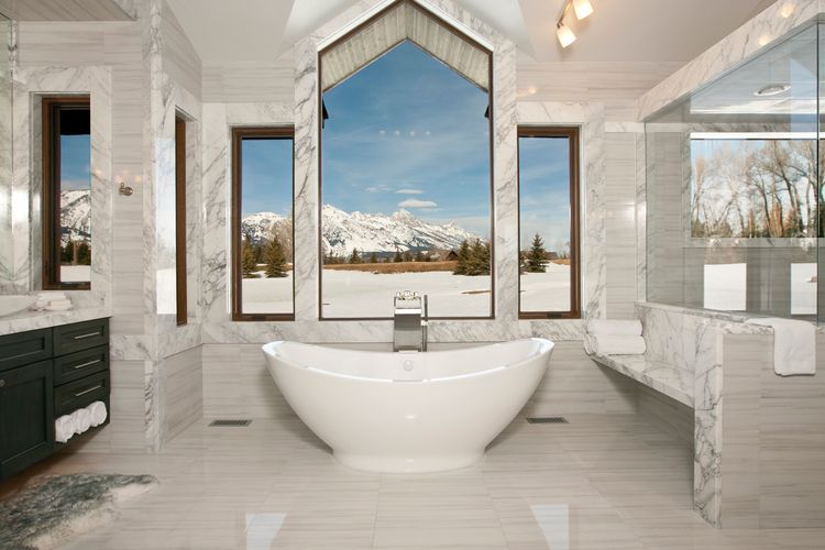 The master bath suite of a Wyoming retreat