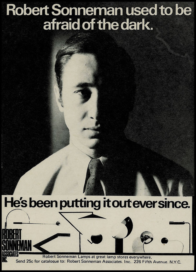 A Sonneman advertisement from the early 1970s