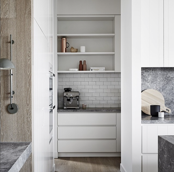 Pantry with built-in shelving in a minimalist kitchen