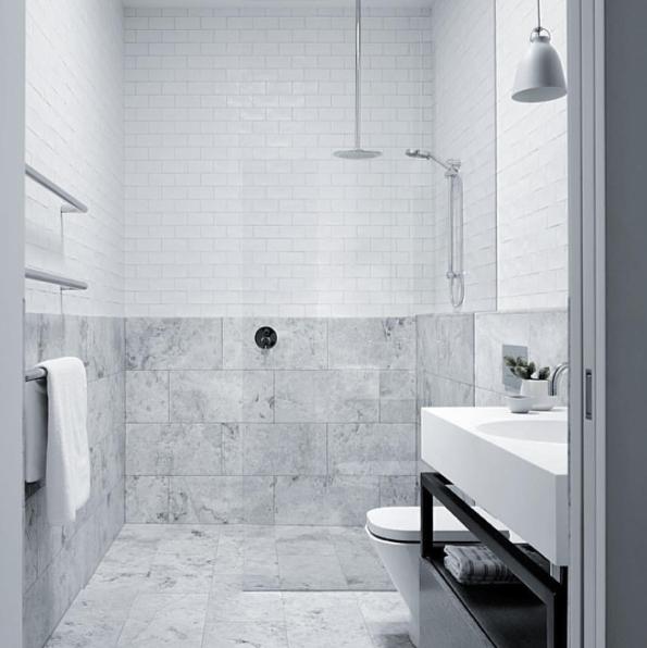 Minimalist bathroom with gray stone