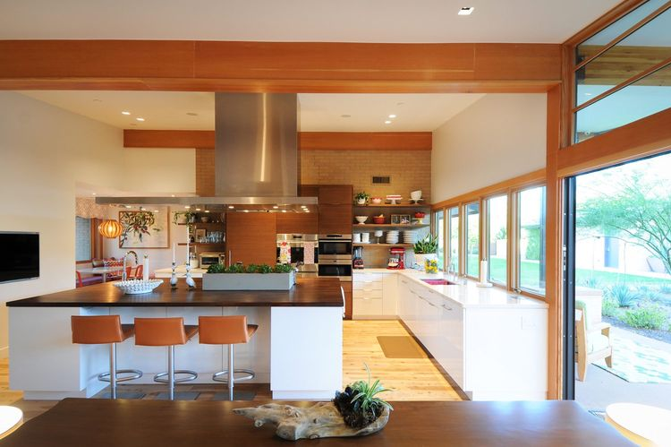 The expanded kitchen and breakfast areas of the Montecito residence
