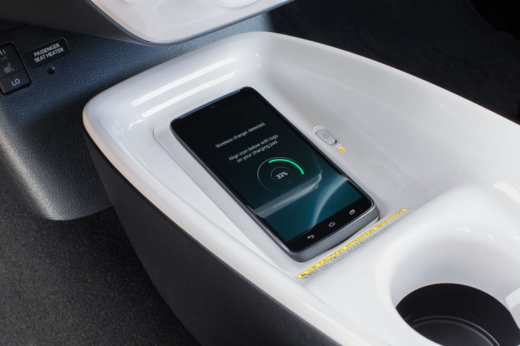 The Qi-compatible wireless smartphone charging system in the 2016 Toyota Prius.