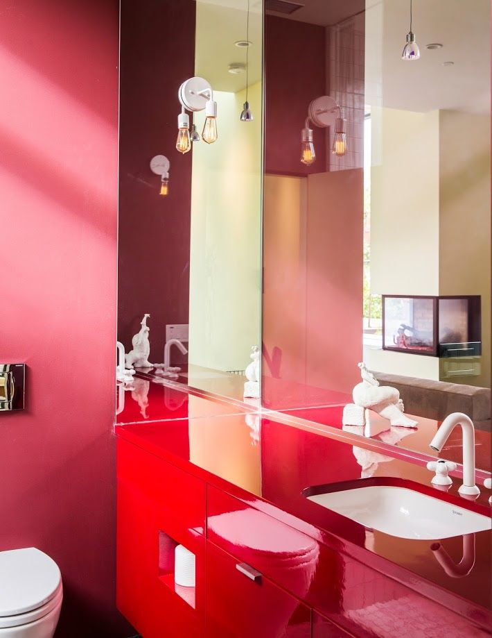 One of the colorful bathrooms at the Piccus Residence.