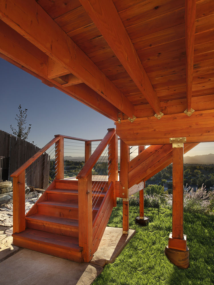 A view of the substructure on a redwood deck
