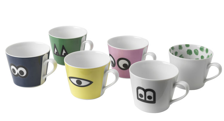 Six mugs from the IKEA line.