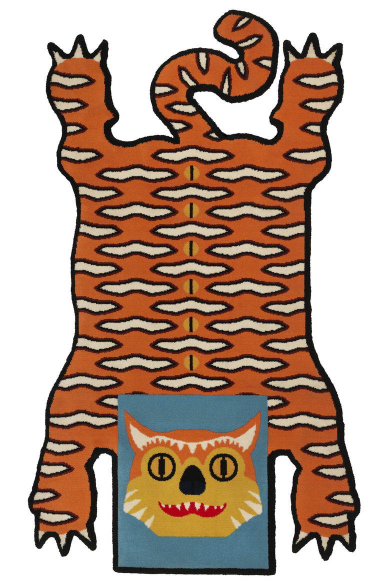 Traditional tiger rug, showcasing Wondermooi superhero Kwade Tijger.