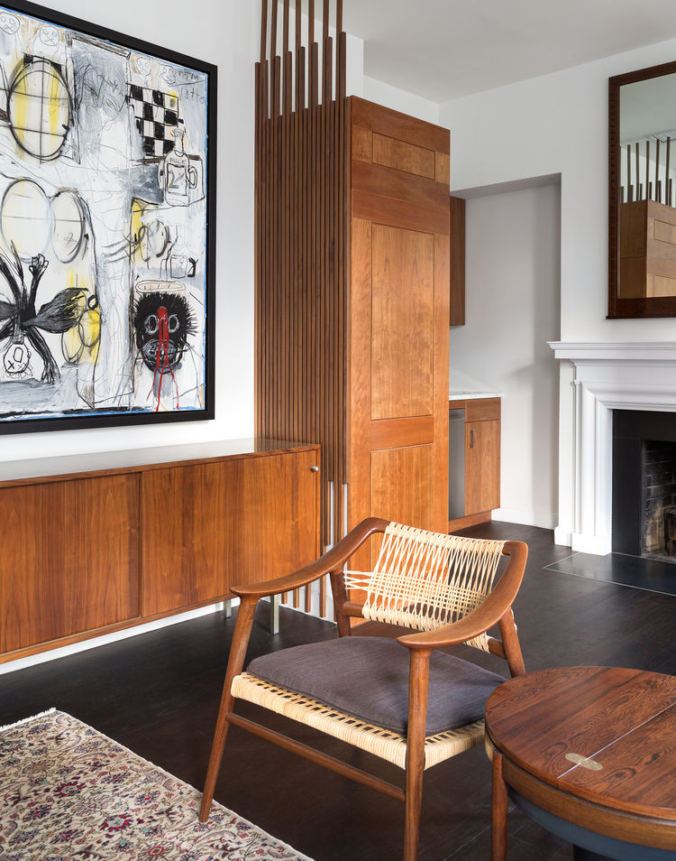 West Village living room with midcentury furniture and modern art