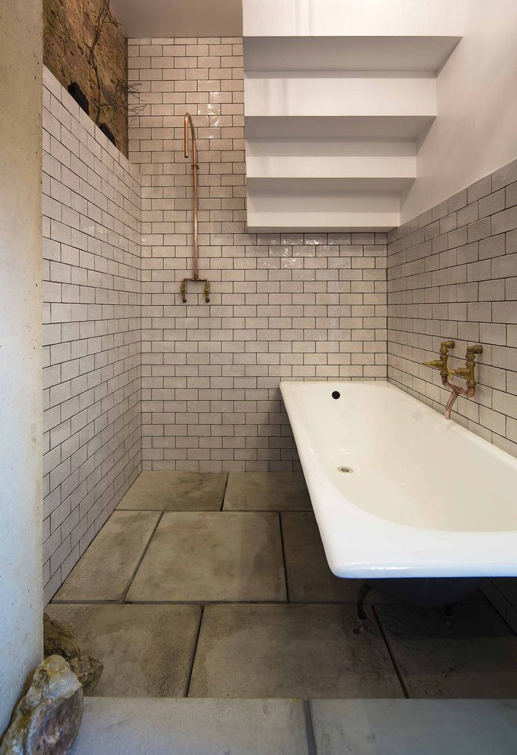 London bathroom with copper fixtures