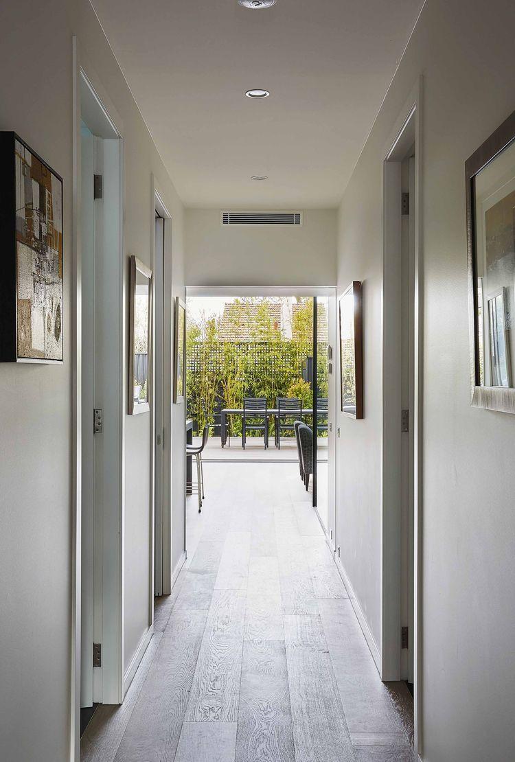 Entry hall facing a back garden in Australia