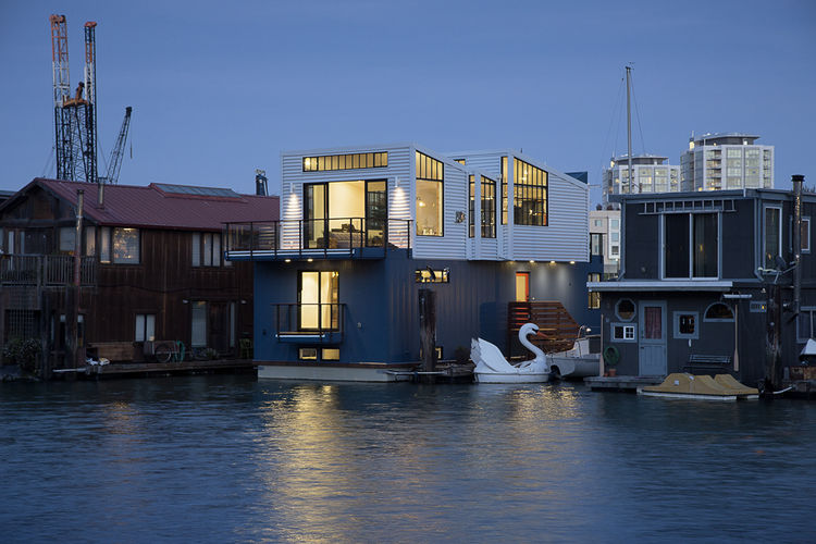San Francisco floating home metal exterior
