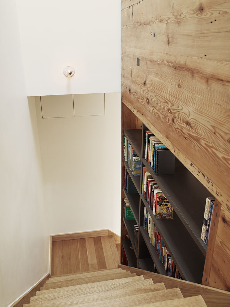 Stairs with salvaged pine shelving