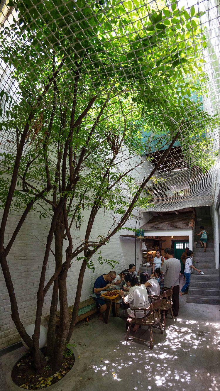 Outdoor dining area at a Saigon home.