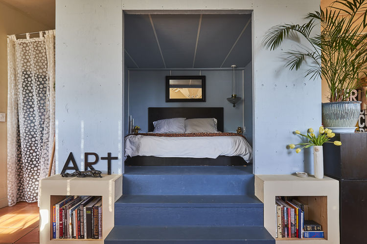 Bedroom built by two artists in Vancouver warehouse.