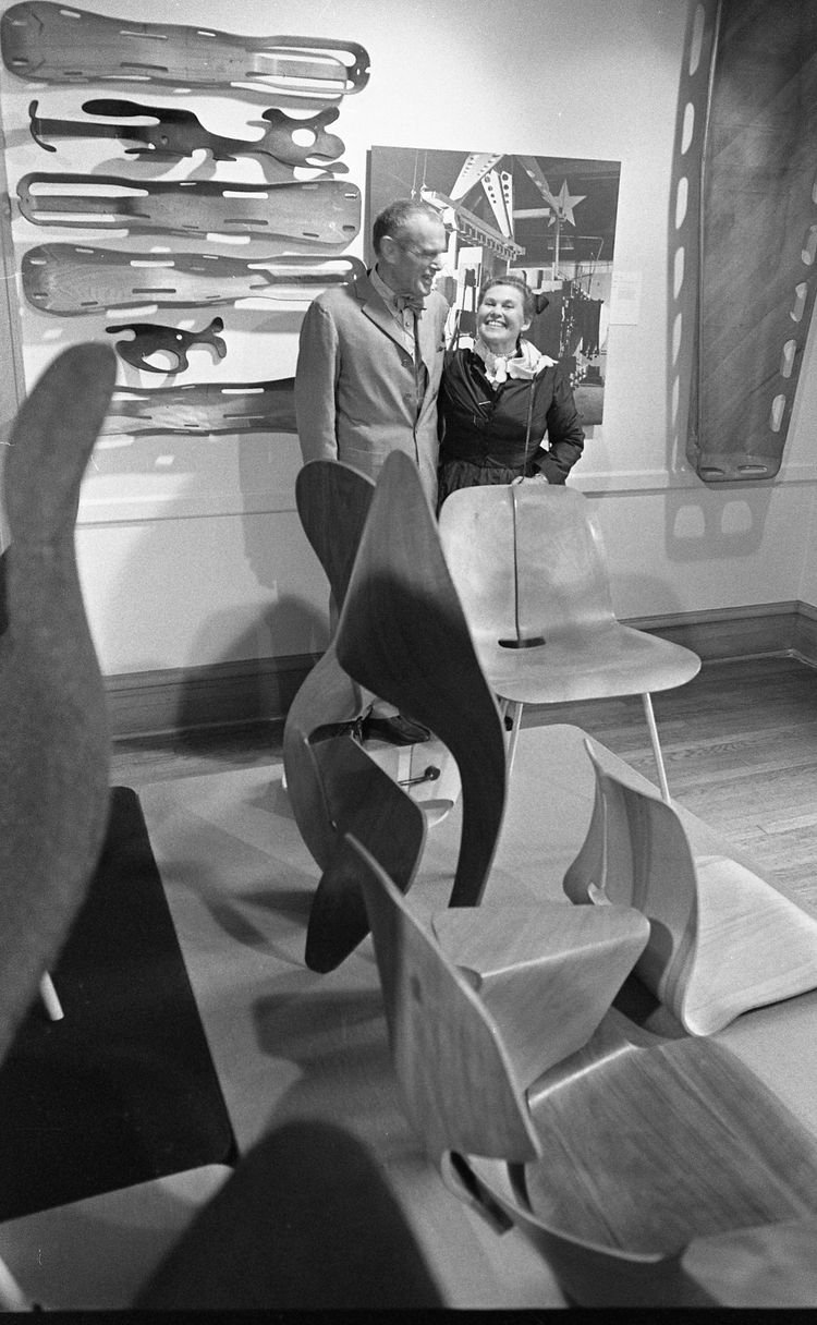 Charles and Ray Eames, 1977, at an exhibition of their works at Washington University.