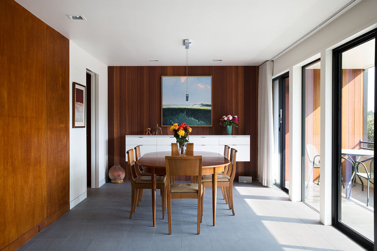 Richler dining room with mahogany paneling