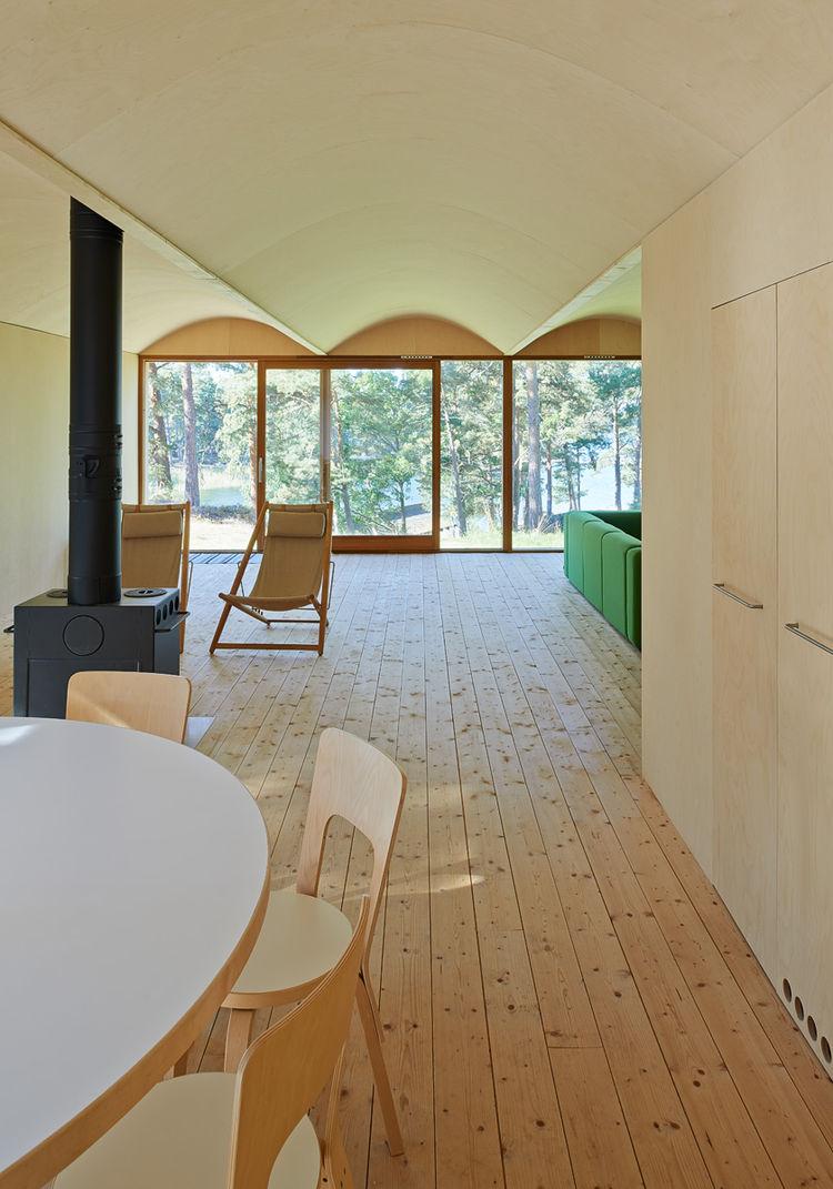 Communal spaces in Swedish island retreat.