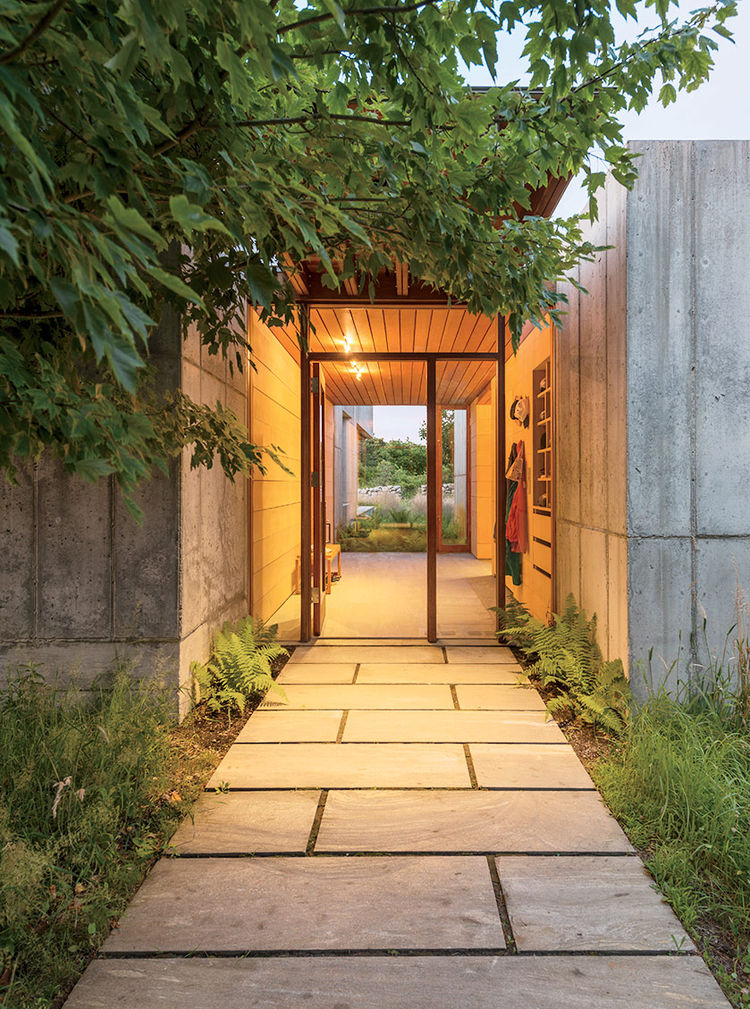 Martha's Vineyard prefab stone and concrete entrance.