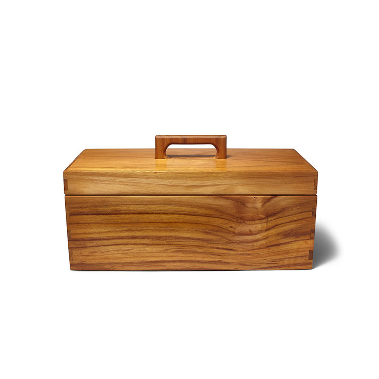 Handcrafted teak toolbox with comb joints