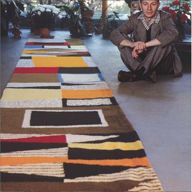 Alexander Girard with a custom rug for Rieveschl home in Michigan