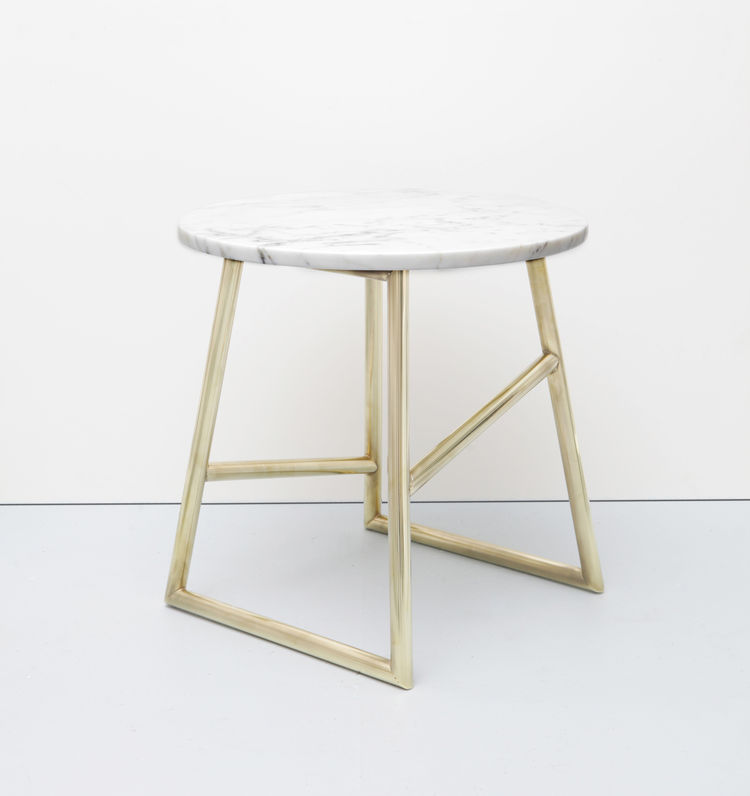 Mixed material side table with marble top and brass-plated base