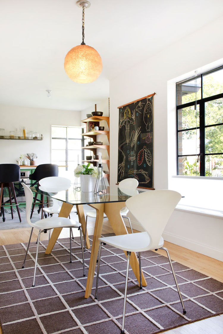 Allison Burke's Austin Home Renovation, Dining and Kitchen Areas from an angle