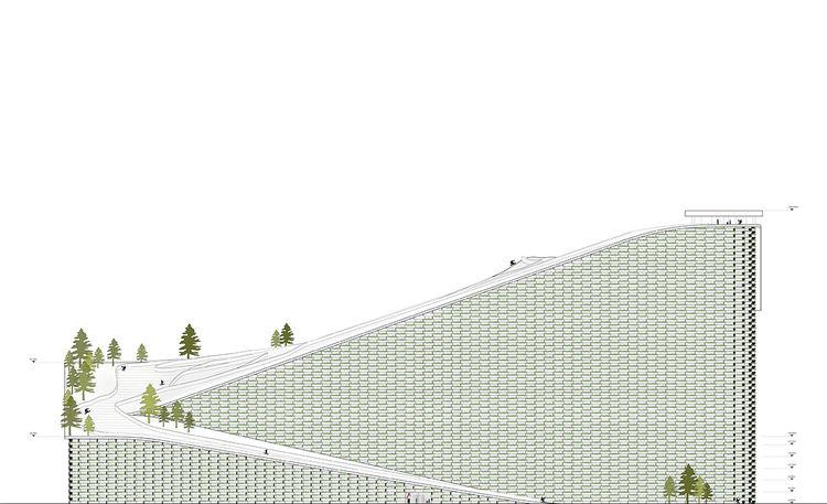 modern energy amager bakke plant copenhagen ski slope roof plan