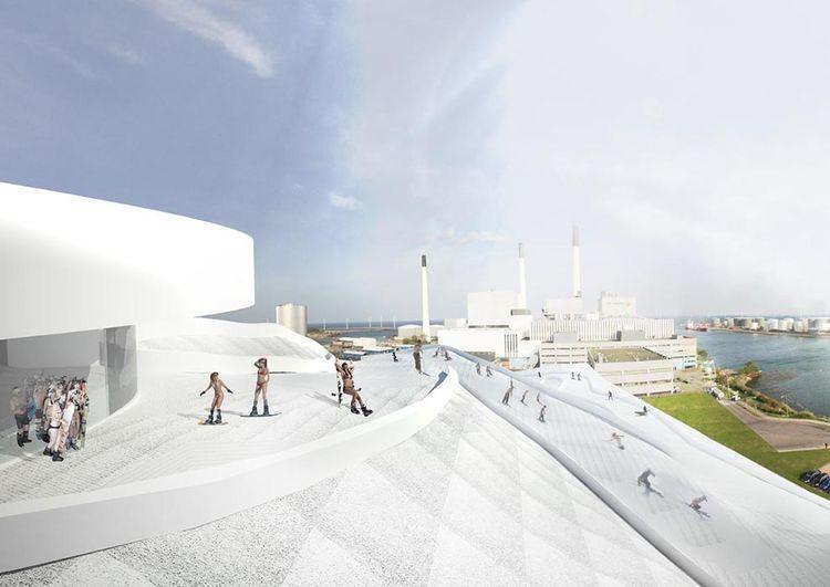 modern energy amager bakke plant copenhagen ski slope roof skiers