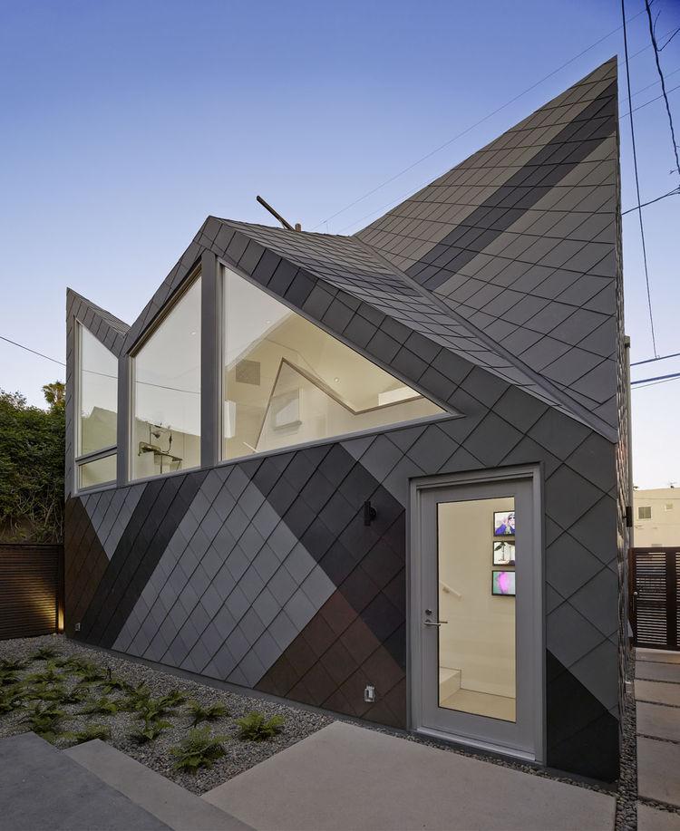 A zinc facade of a studio in California.