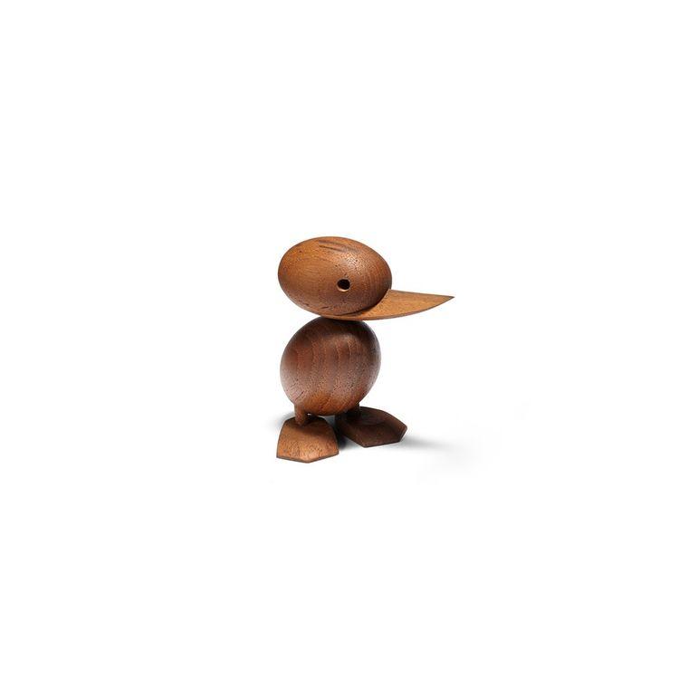 Handcrafted teak midcentury duckling figurine
