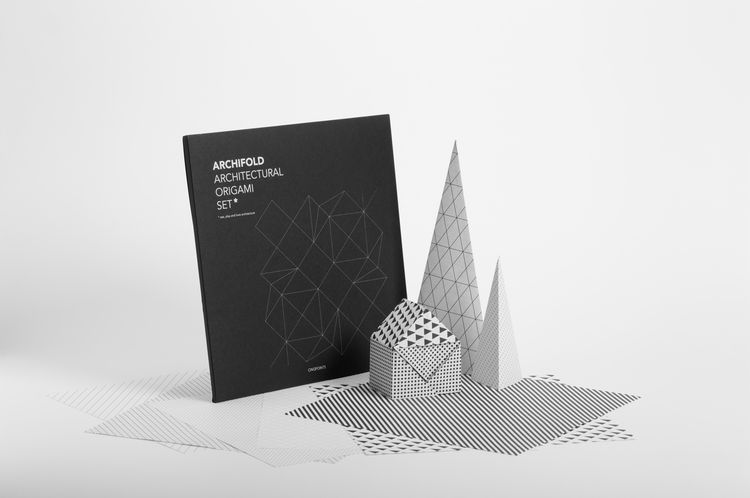 Black and white origami set designed to make architectural structures