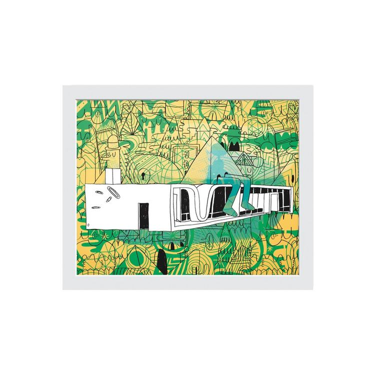 Graphic print of American House 08 with colorful flora