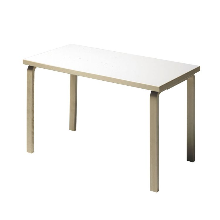 Classic Alvar Aalto dining table for Artek with white laminate top
