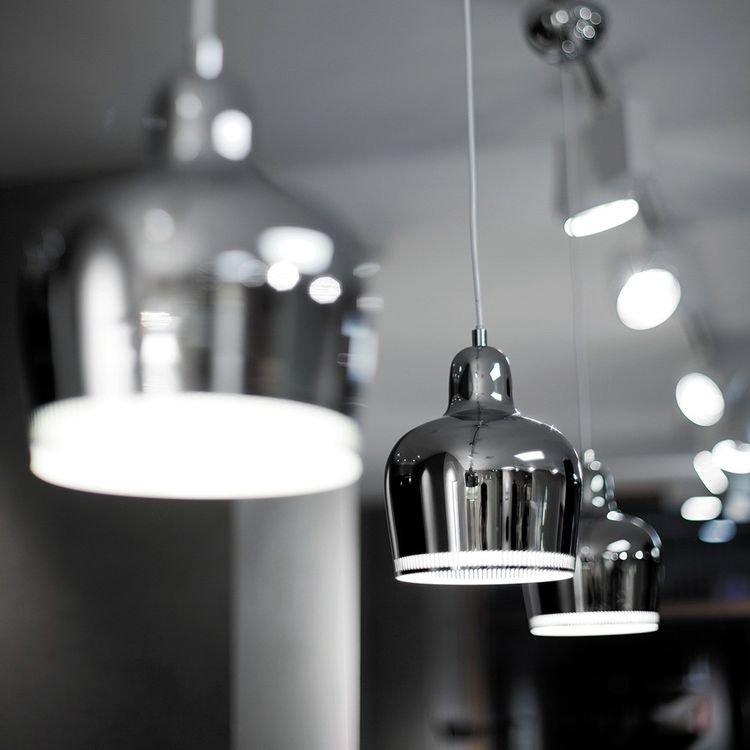 Chrome sculpted pendant light