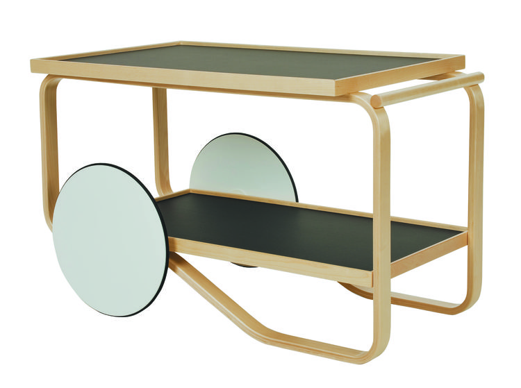 Classic tea trolley with black laminate trays