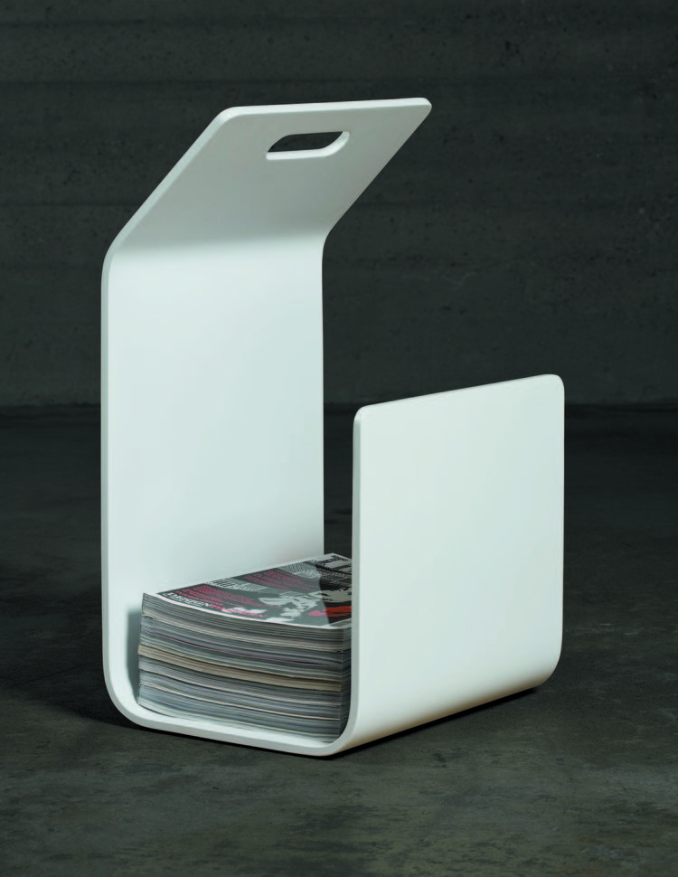 White laminate magazine stand with carrying handle