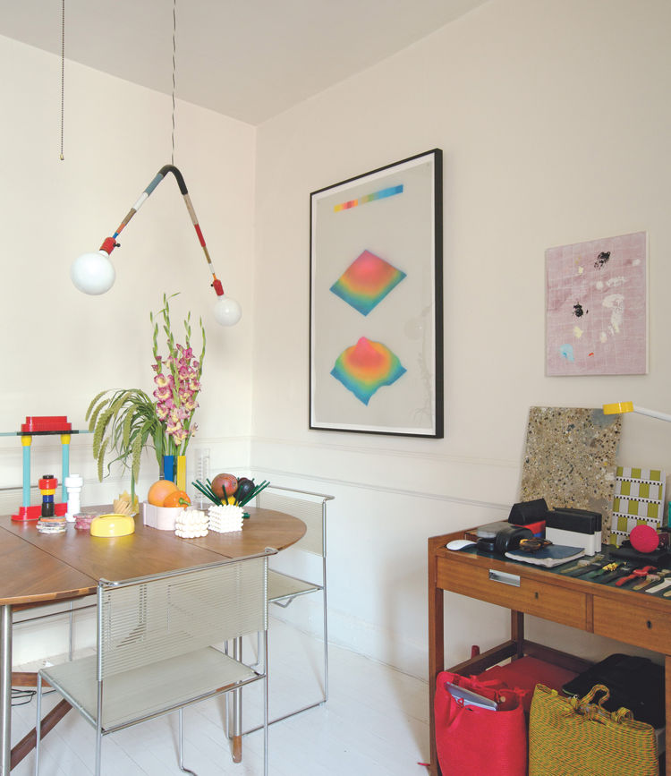 Tauba Auerbach's home in Brooklyn, with pieces by Andy Coolquitt, Doug Johnston.