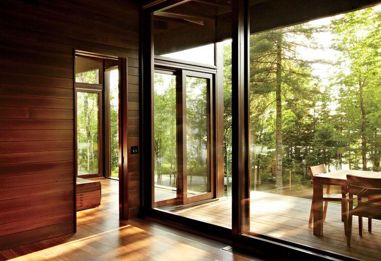 August Moon cabin Douglas fir window frames