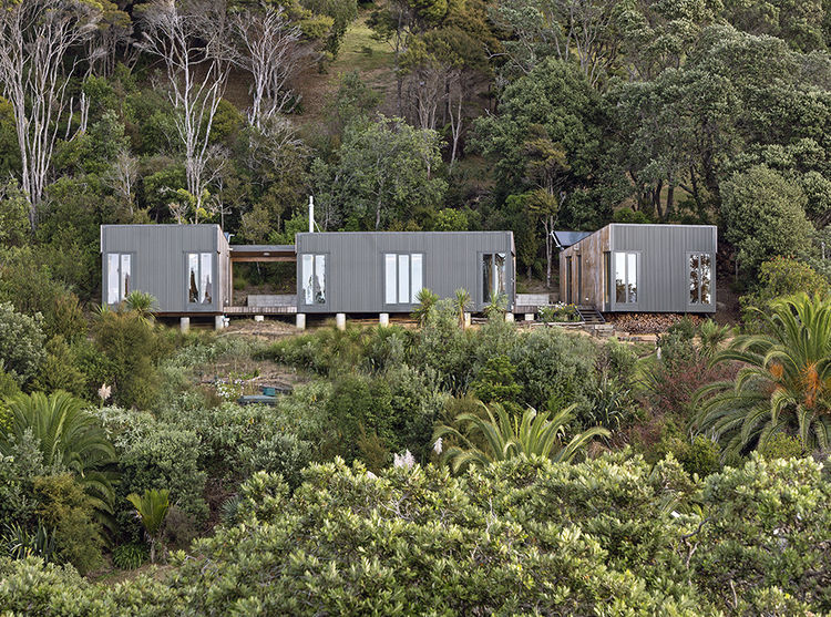 Modern prefab New Zealand beach house facade the tries to preserve mature trees