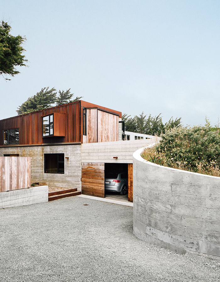 Modern home in Sea Ranch with a Cor-Ten steel and concrete exterior