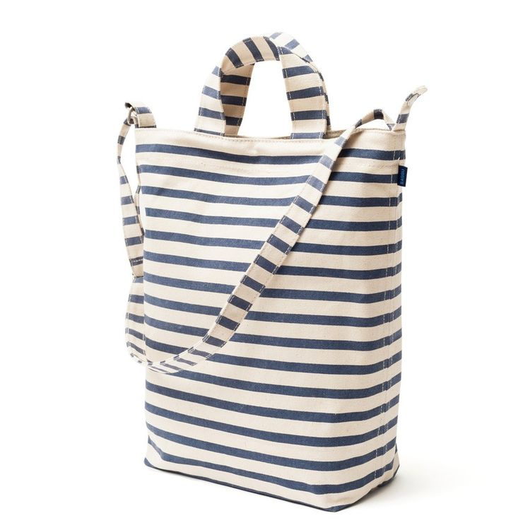 Durable canvas striped tote bag