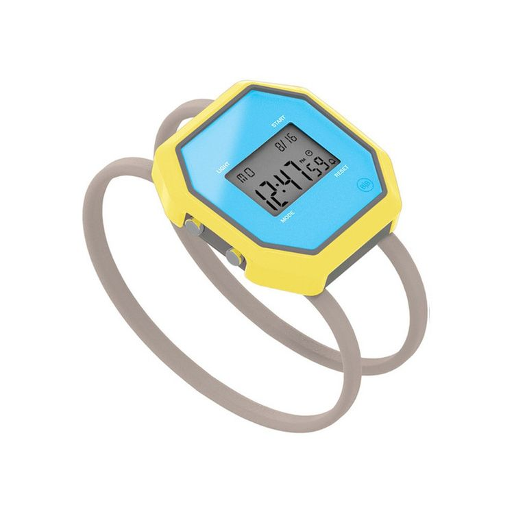 Sporty digital watch with simple elastic bands