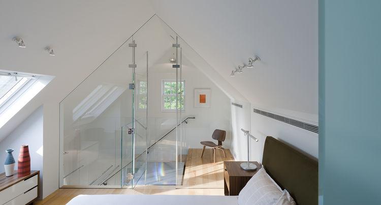 Copenhagen nightstand and Brazo table lamp in bedroom of Delaware renovation by Robert M. Gurney Architect