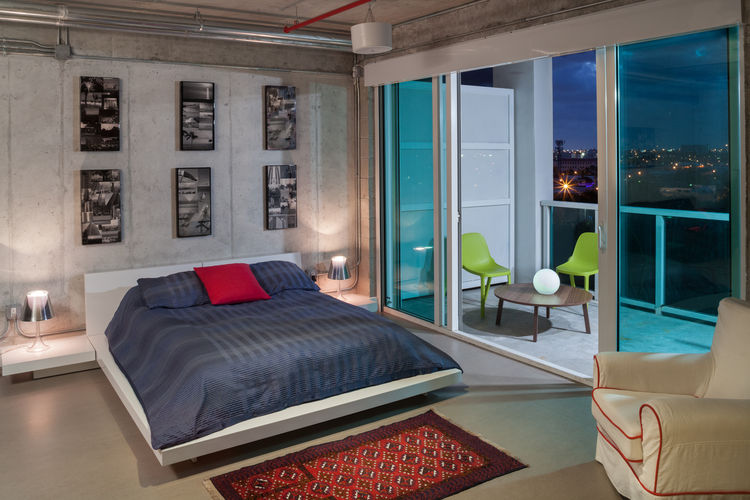 Bedroom with Miami views in loft renovation.