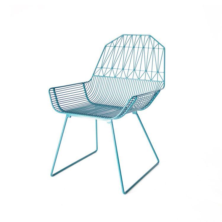 Powder-coated geometric lounge arm chair